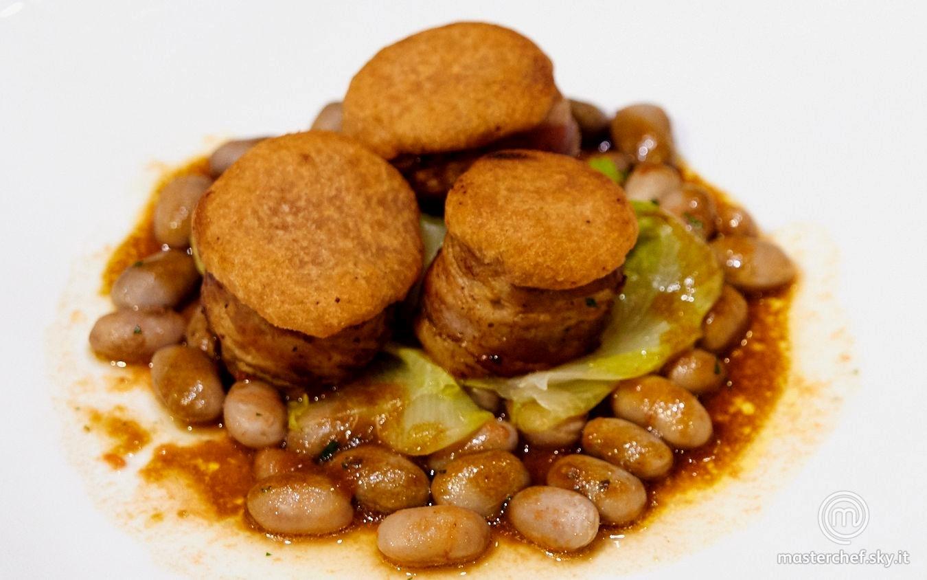 Filetto di maiale, crosta di mostarda di Cremona e borlotti