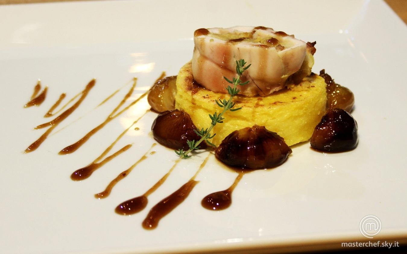 Polenta e coniglio con cipolline all'aceto balsamico