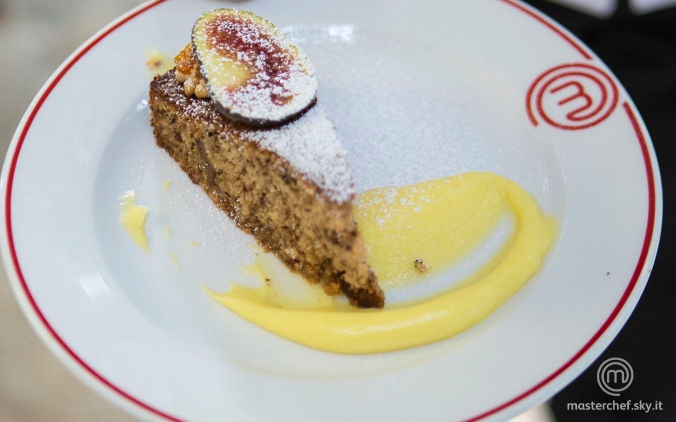 Torta fichi e noci con crema al limone