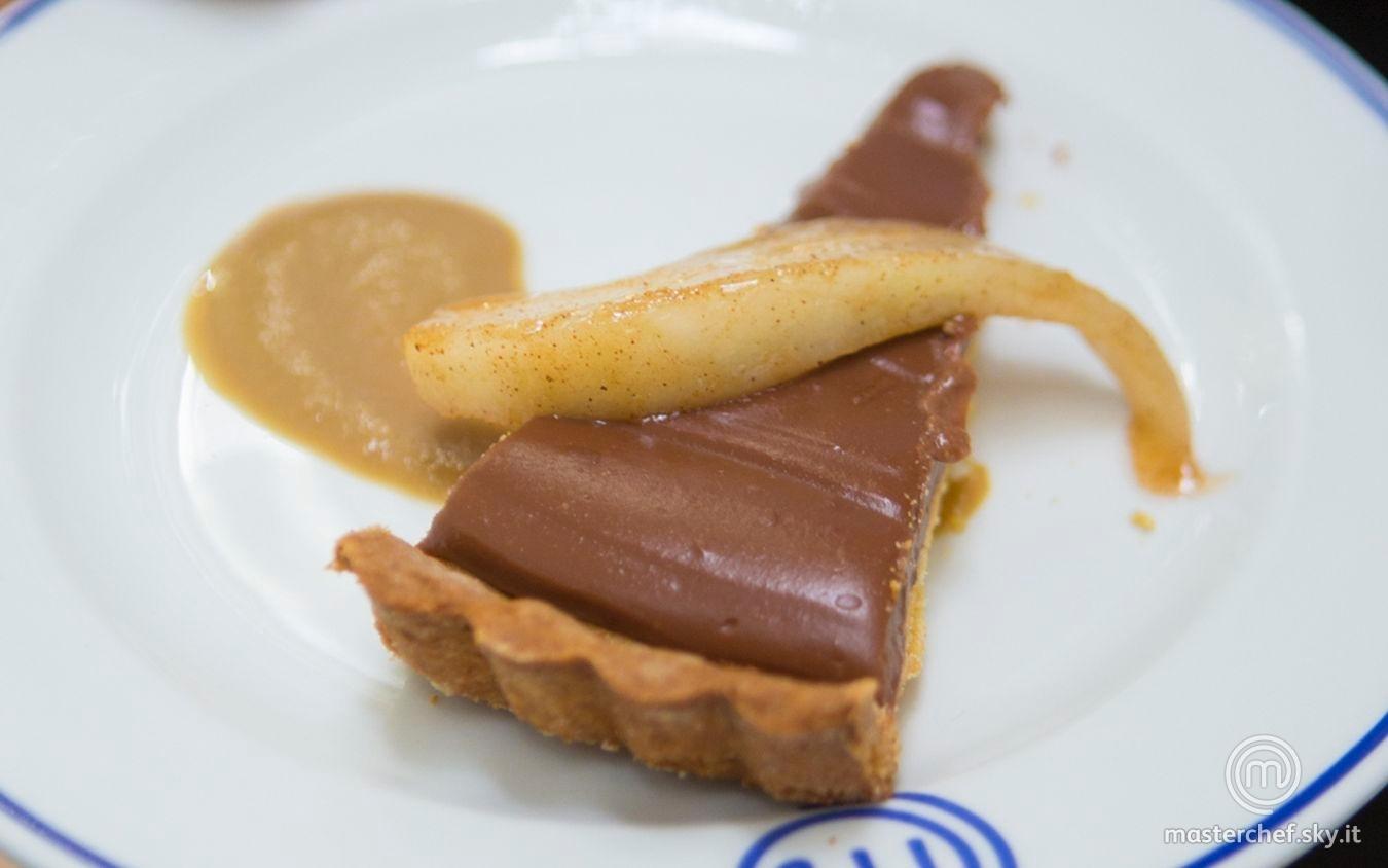 Torta di pere e cioccolato con crema al caffè
