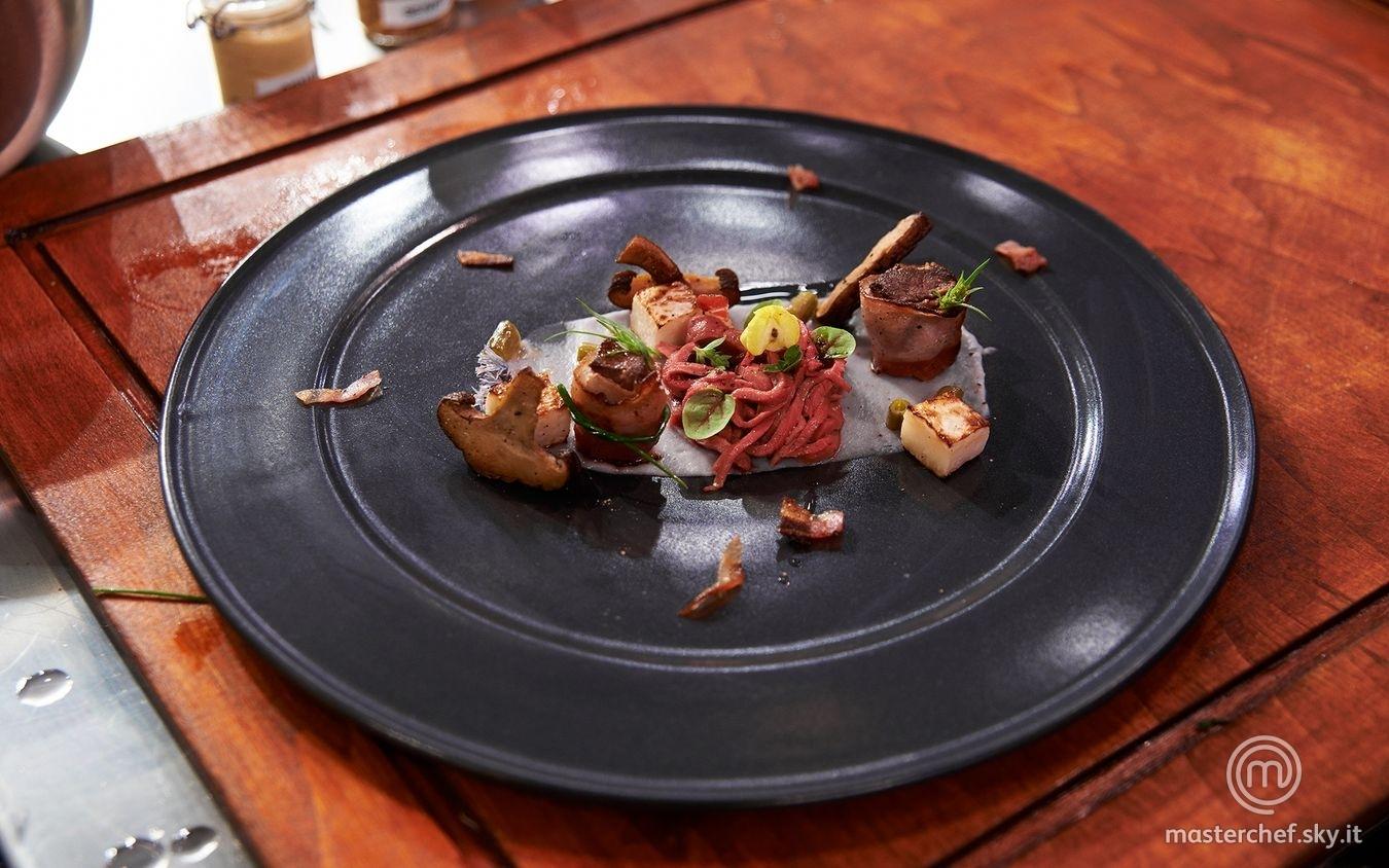 Cuore in doppia cottura con rapa bianca, porcini e speck