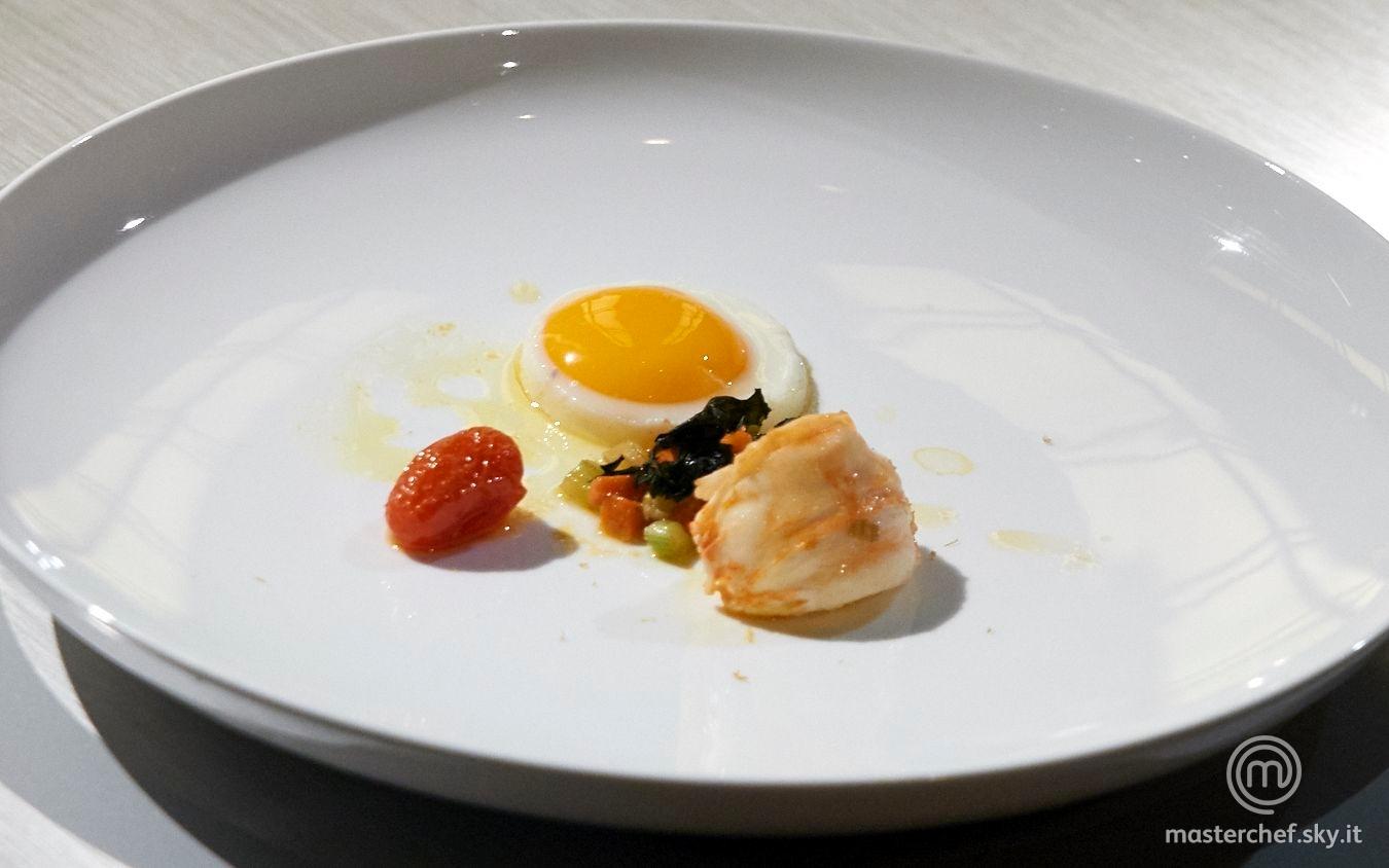 Aragosta e uovo fritto
