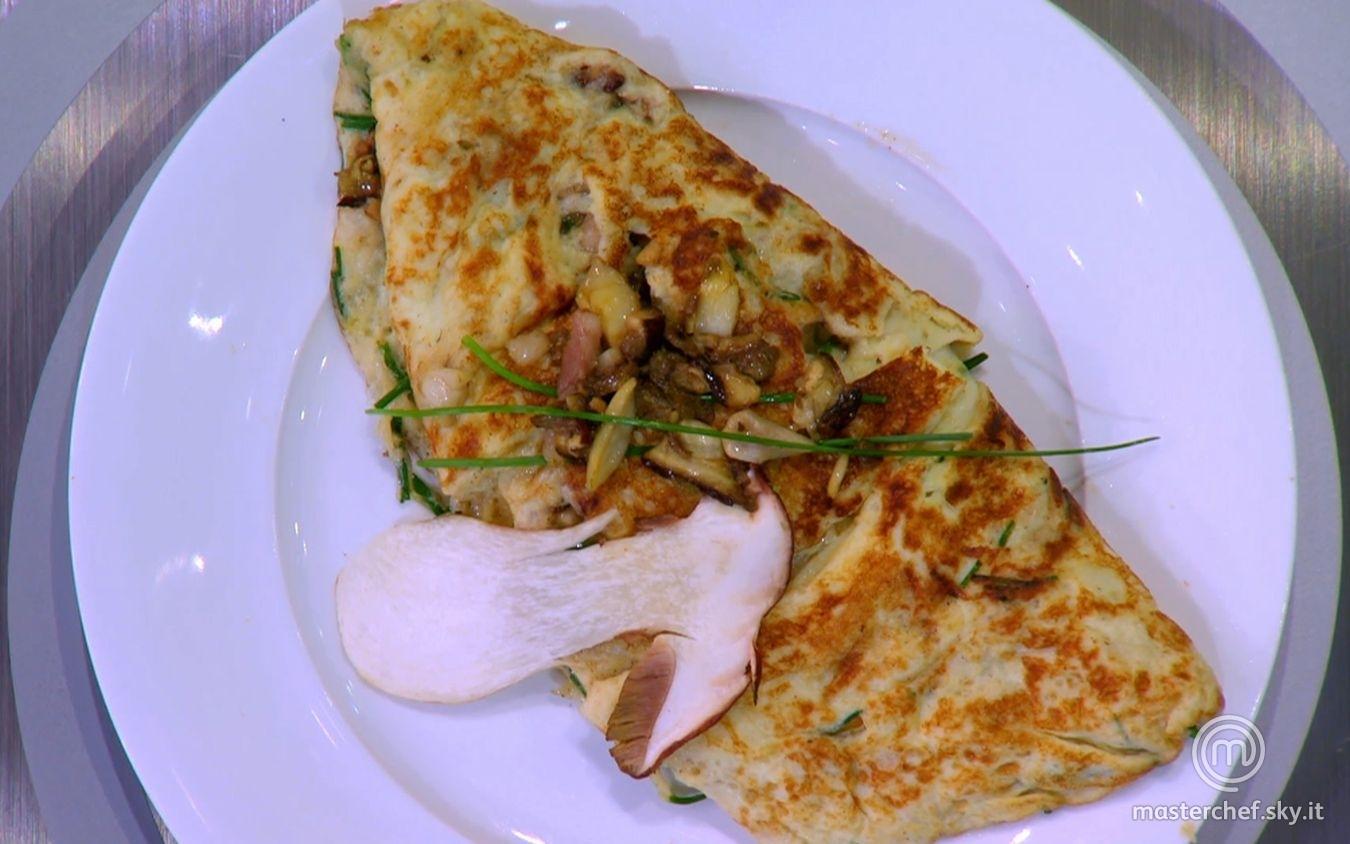 Omelette con porcini e porchetta