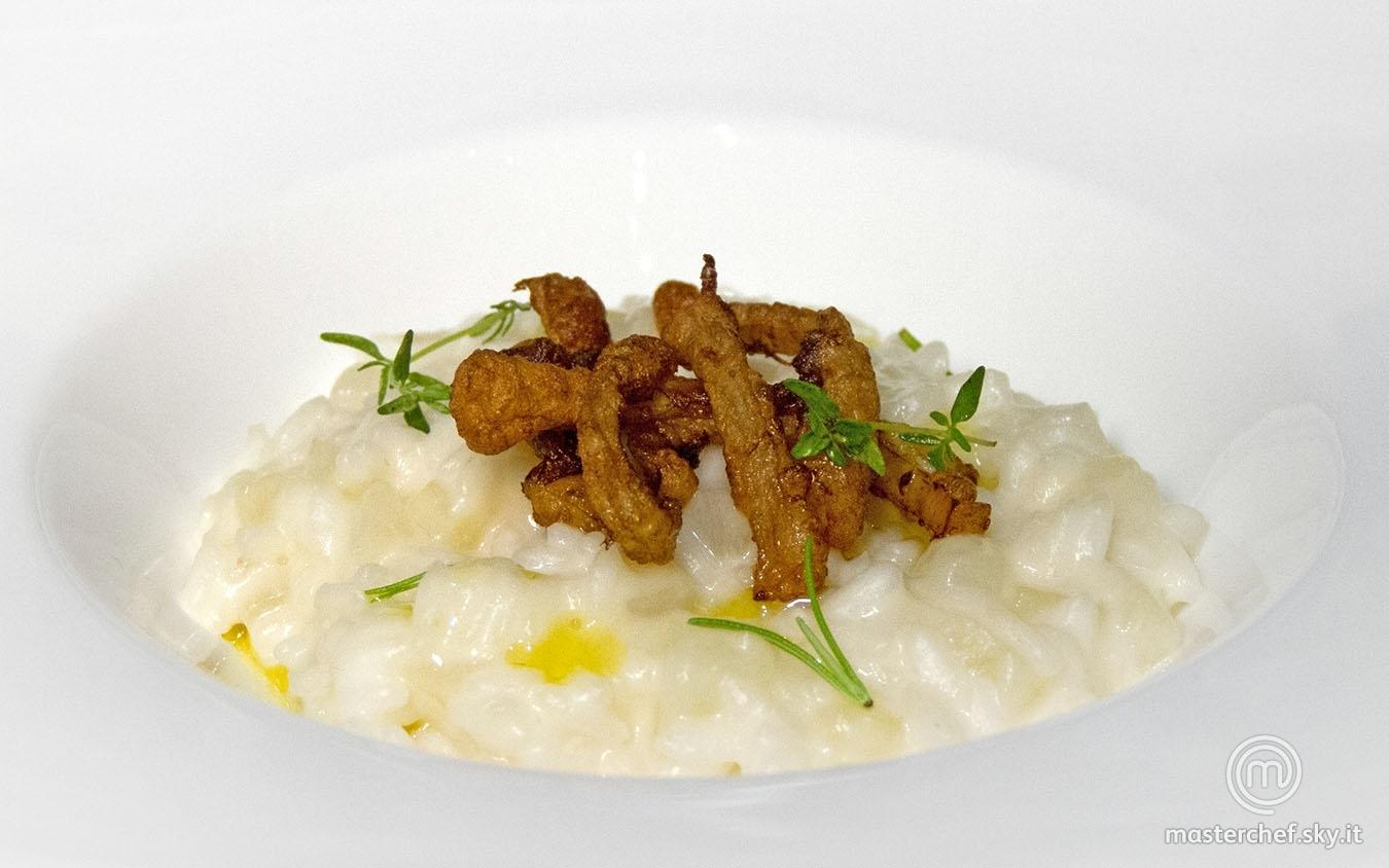 Risotto pere, parmigiano e siero di mozzarella