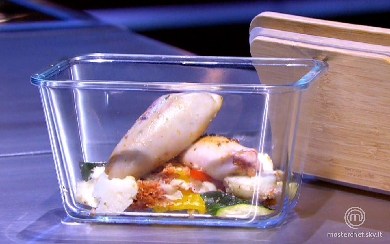 Calamari ripieni e gratin di verdure