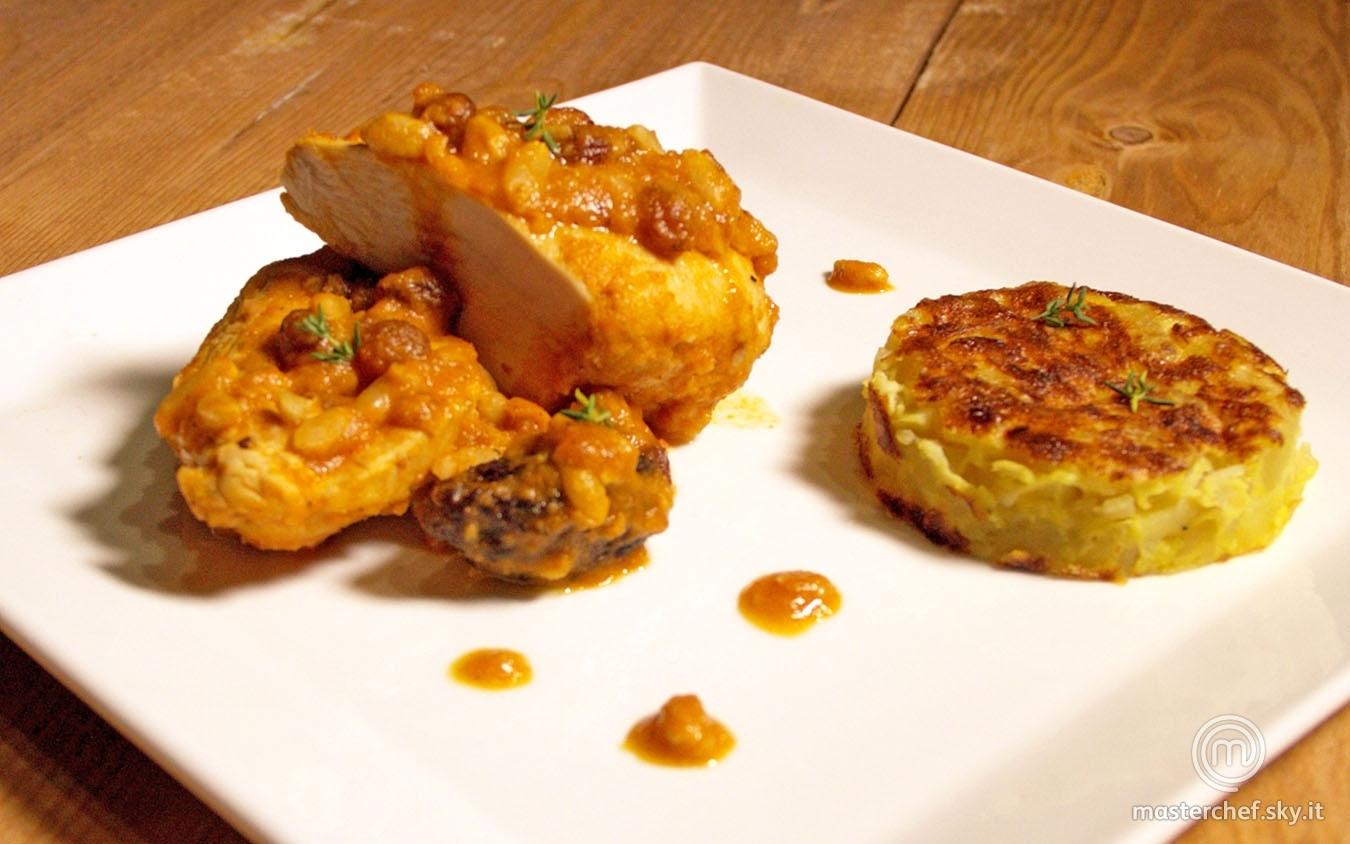 Pollo asado alla catalana con tortilla de patatas