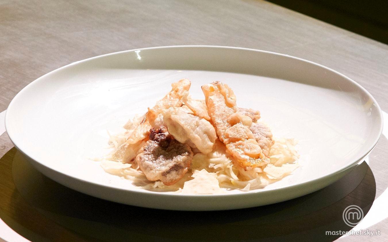 Finocchio filet con tempura di quinto quarto