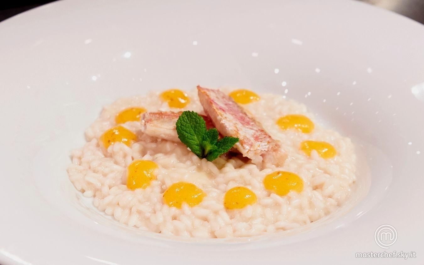 Risotto Roquefort, cachi, triglie
