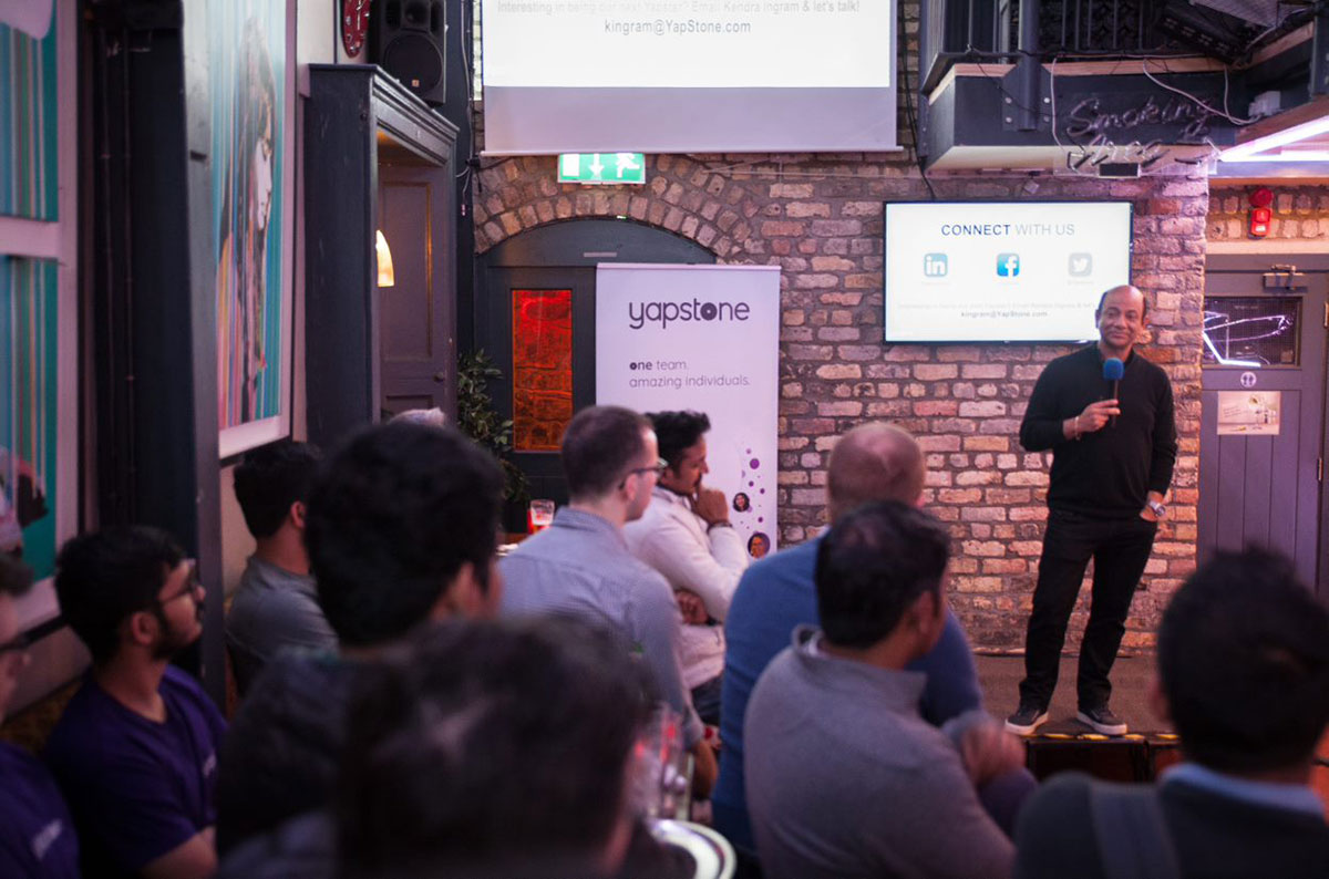 Sanjay Sara speaks at Yapstone's Dublin tech meetup.