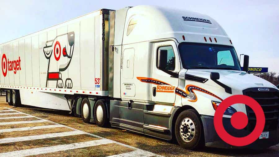 A Schneider tractor hauls a Target-branded trailer