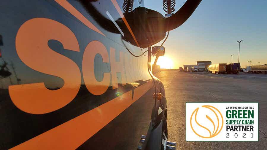 Side of Schneider truck with logo