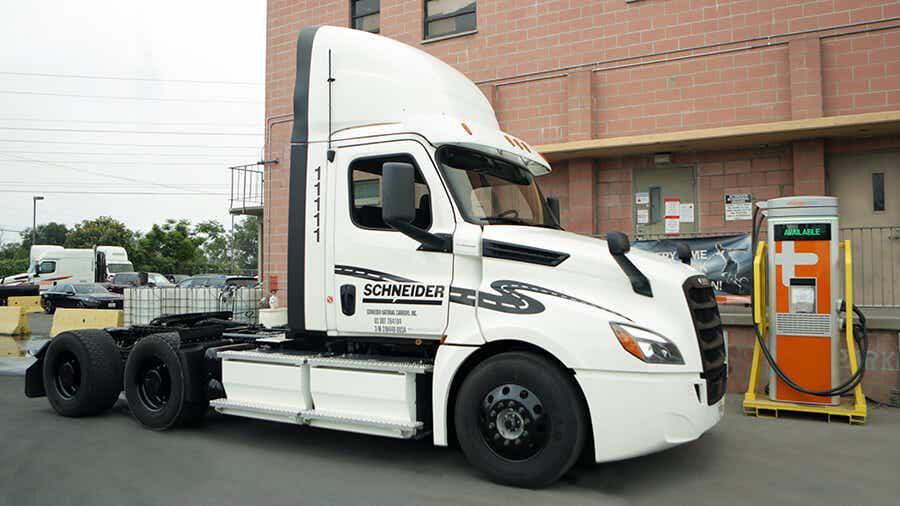 photo of a Freightliner eCascadia, 50 will be added to the Schneider fleet in 2022