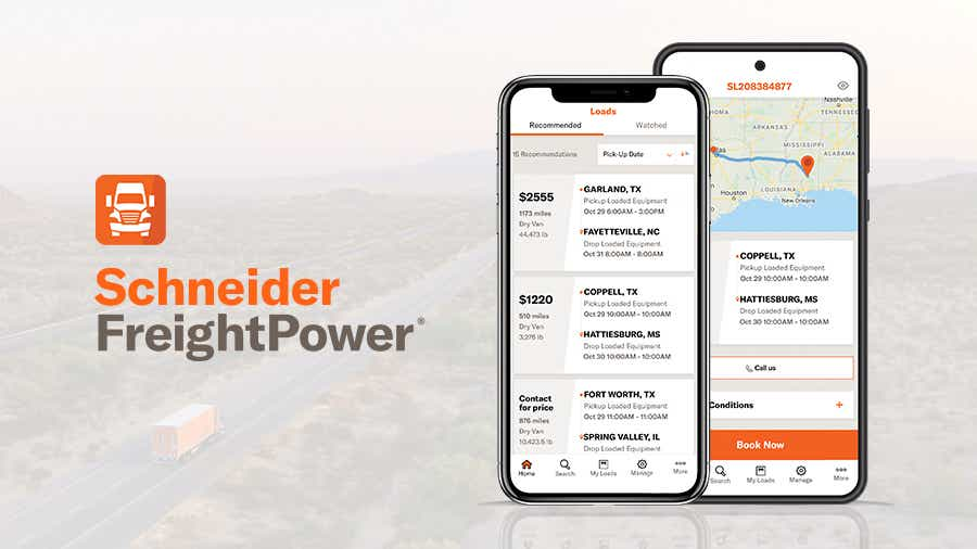 Mobile phones showcase features of Schneider's FreightPower's app
