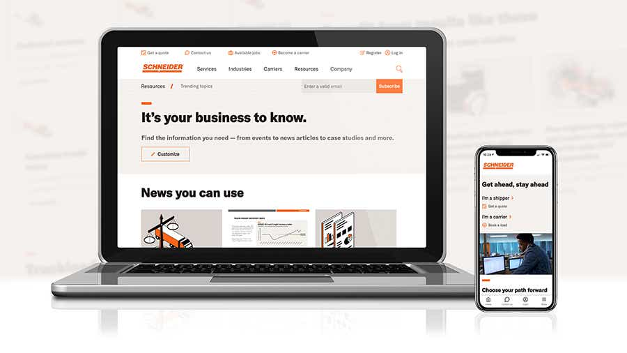 Schneider's refreshed website gives shippers and carriers a great digital experience on both desktop and mobile devices.