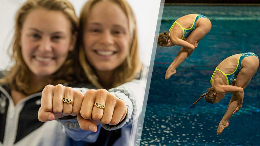 Krysta Palmer and her partner, Alison Gibson show Olympic rings and dive.