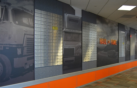 Image of Schneider's Haul of Fame award wall at corporate headquarters in Green Bay, WI.