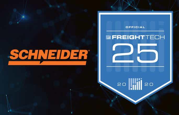 Image of FreightWaves FreightTech 25 award emblem and the Schneider logo