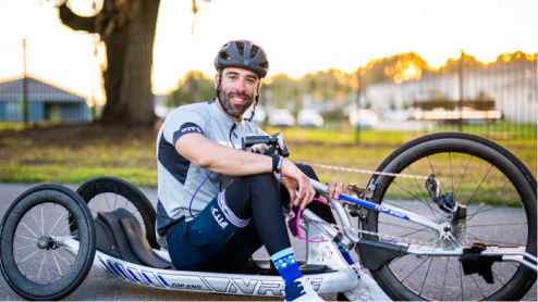 Cyclist sitting in handcycle