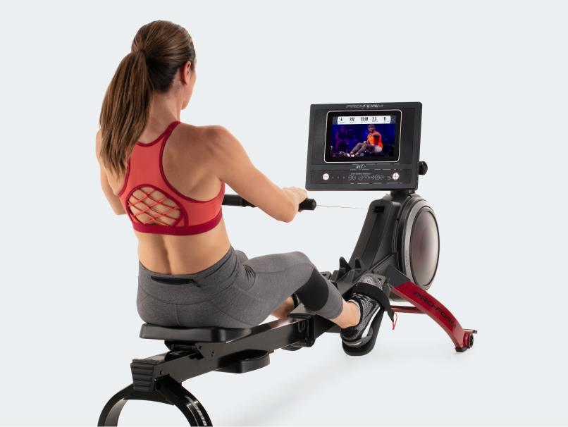 Woman uses rower