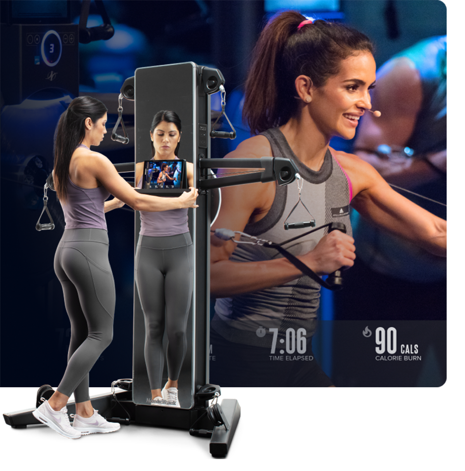 Woman does a strength workout using the iFIT Fusion app