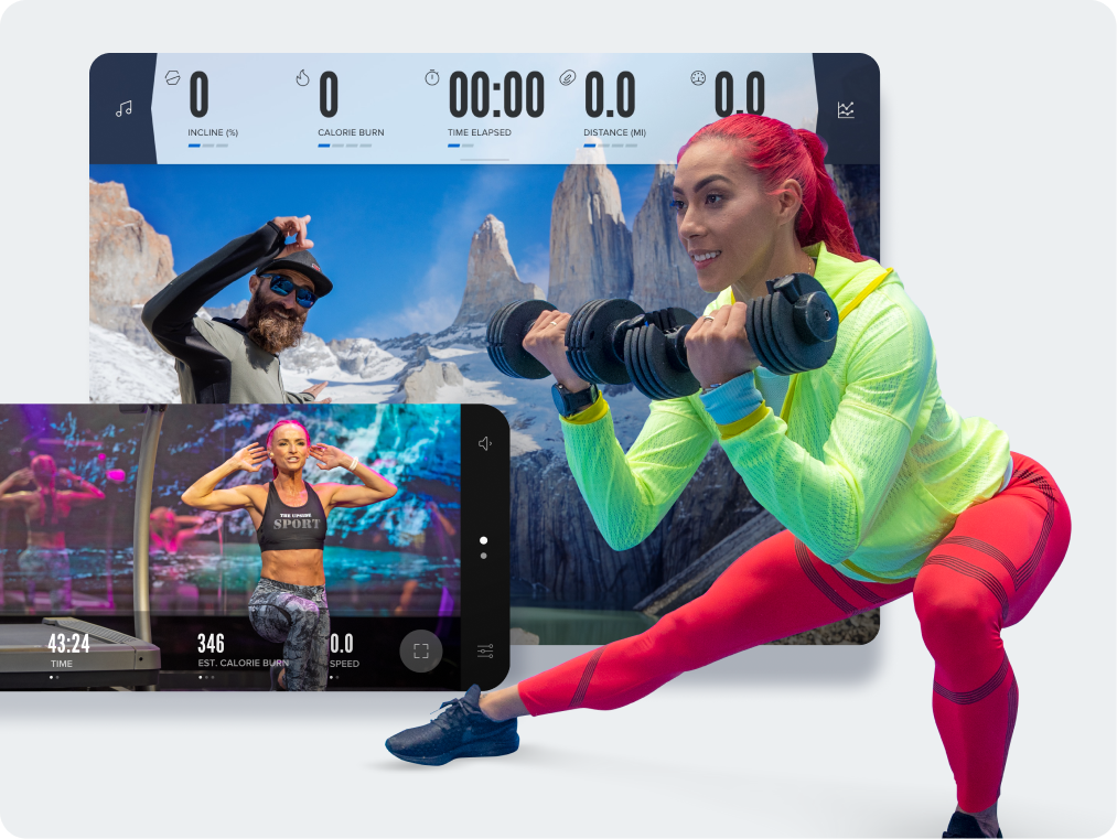 Woman with red hair lifting weights looking at iFIT app screens.