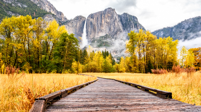 Wood path leading to Yosemite Falls