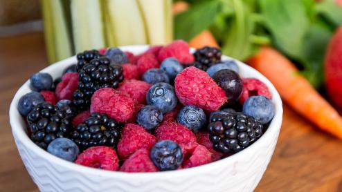 Bowl of blueberries, blackberries and fruit