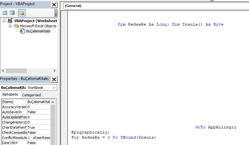 snippet of initial spaced VBA code