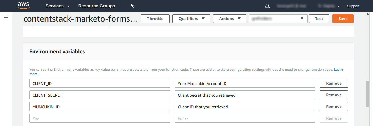 Enter Marketo Munchkin ID, Client ID, and Client Secret in AWS Lambda.png