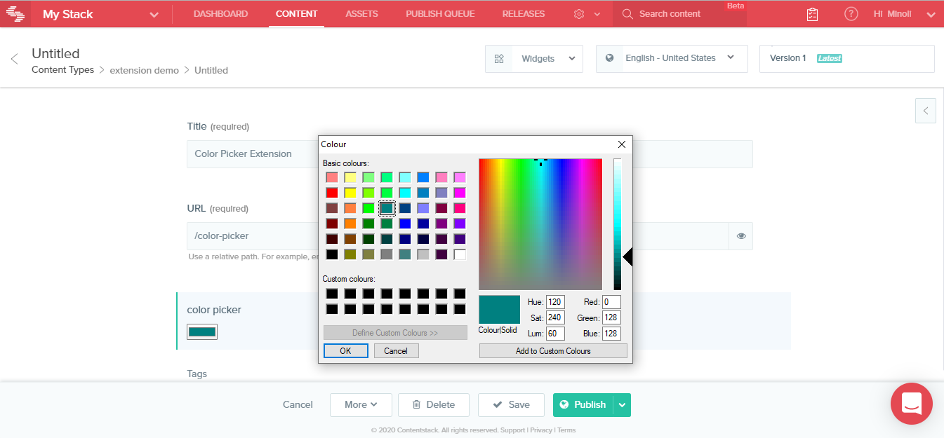 output of color picker