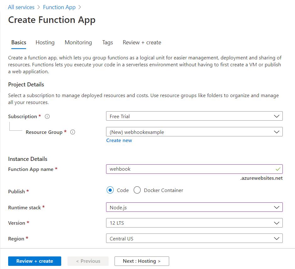 Configure Function app selection.png