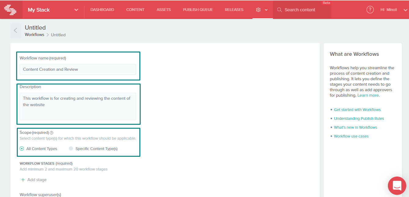 Workflow detail page