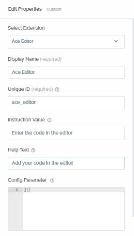 fill properties for Ace Editor