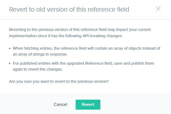 changes in reference field functionalities on reverting
