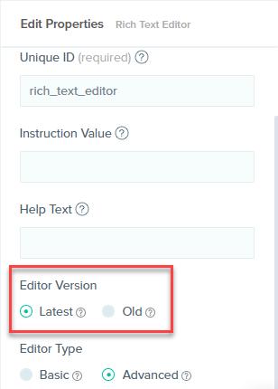 Editor Version of RTE field