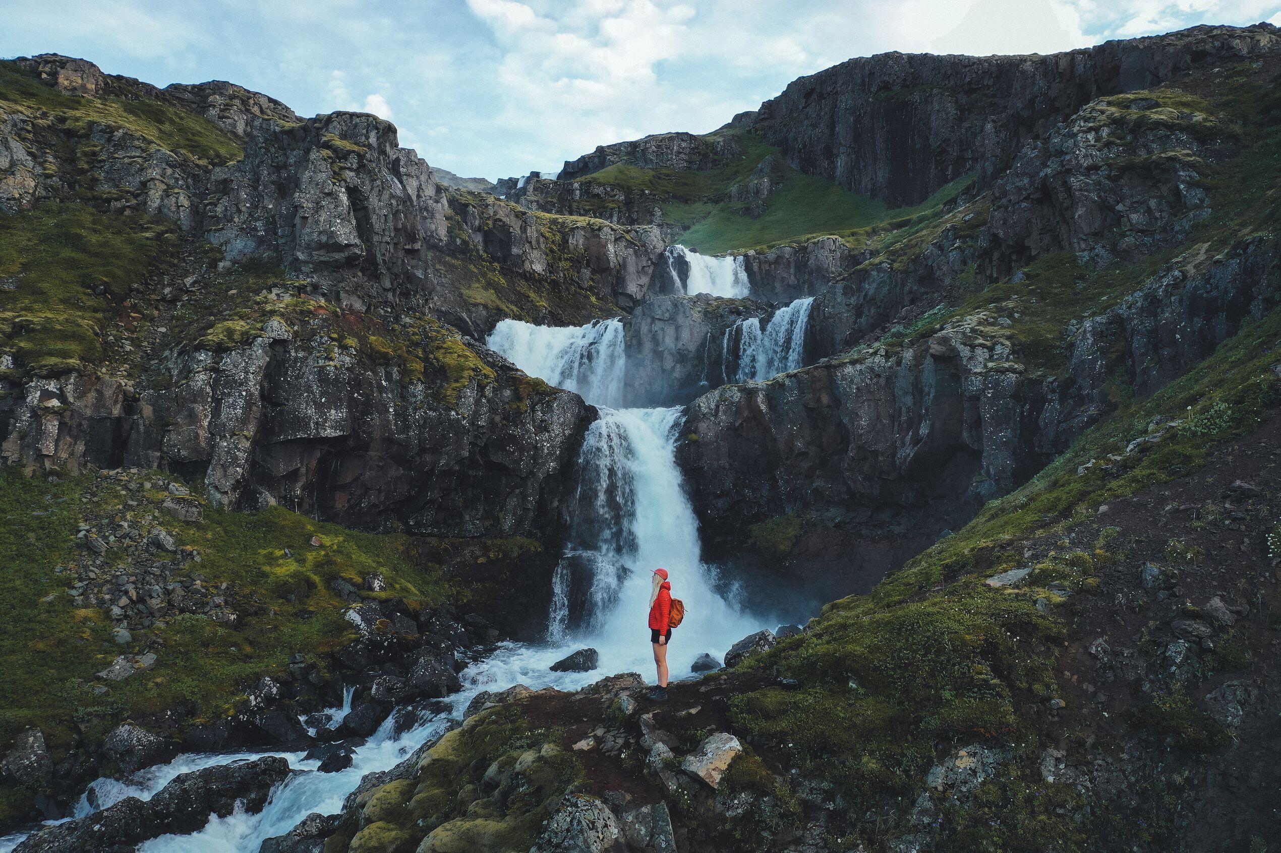 Klifbrekkufossar waterfall located in Mjóifjördur, East Iceland