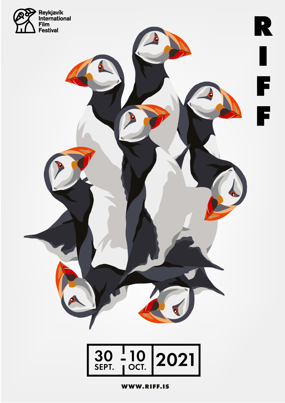 Riff International Film Festival poster for 2021 featuring a group of puffins facing all different directions with copy that reads '30th Sep-10th Oct 2021'