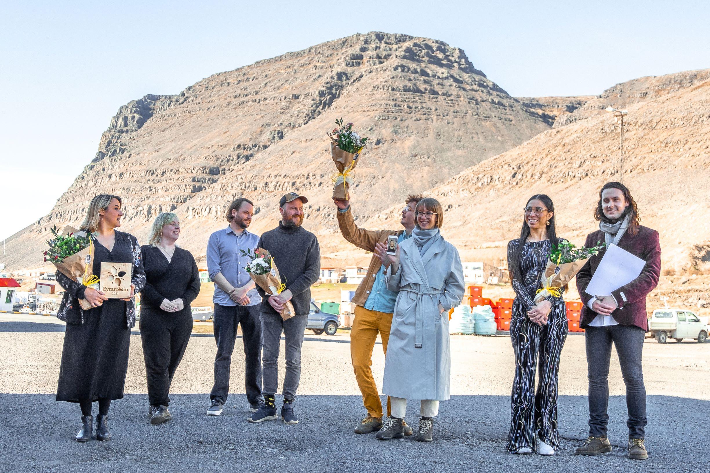 Recipients of the Eyrarrosin Encouragement Award pictured in Patreksfjordur in West Iceland celebrating their awards