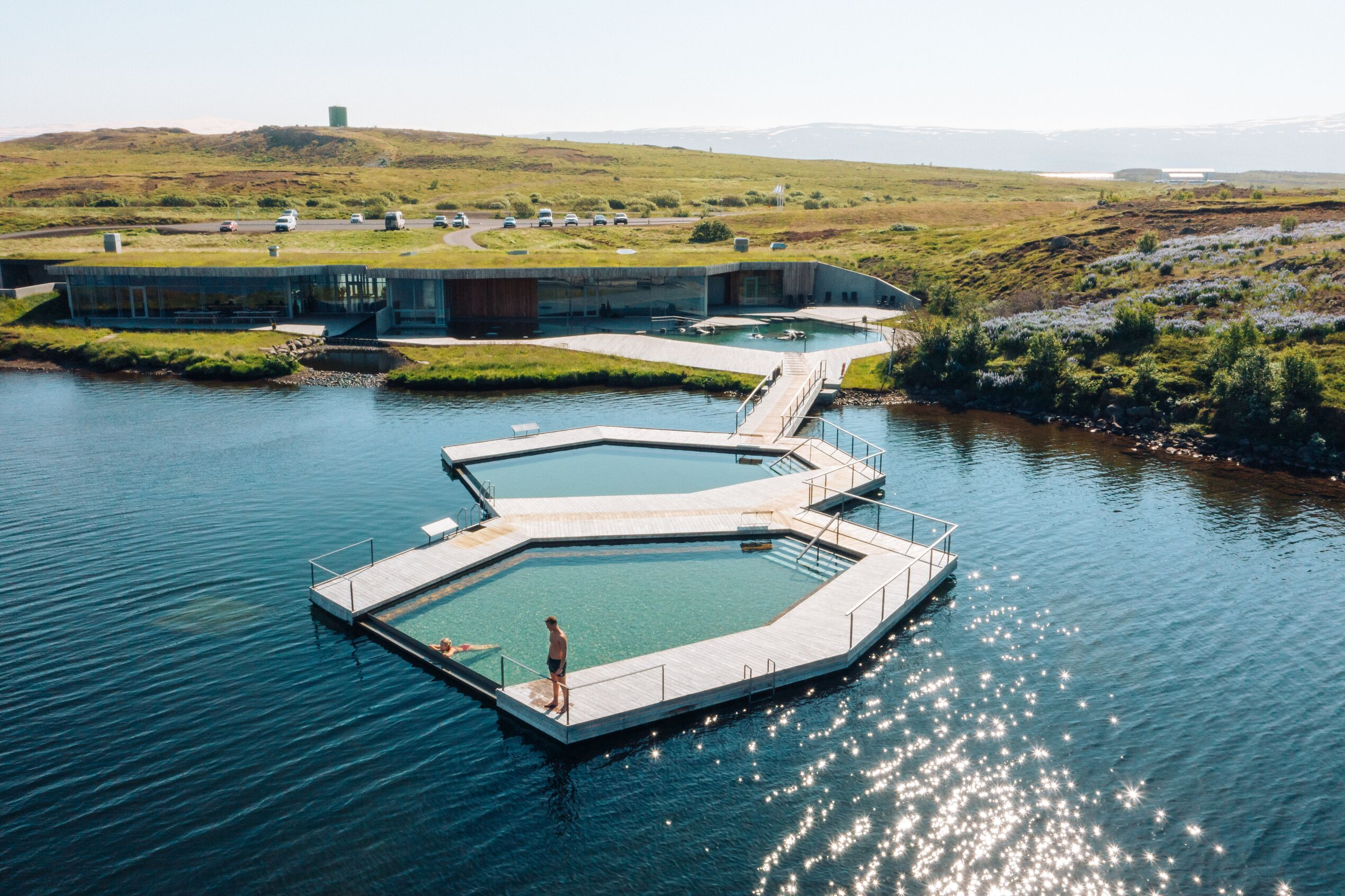 Vök Baths in East Iceland, pictured from a slightly overhead drone