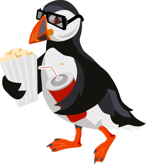 A Riff International Film Festival poster with a puffin that is wearing glasses and holding popcorn and a drink, ready to watch a film