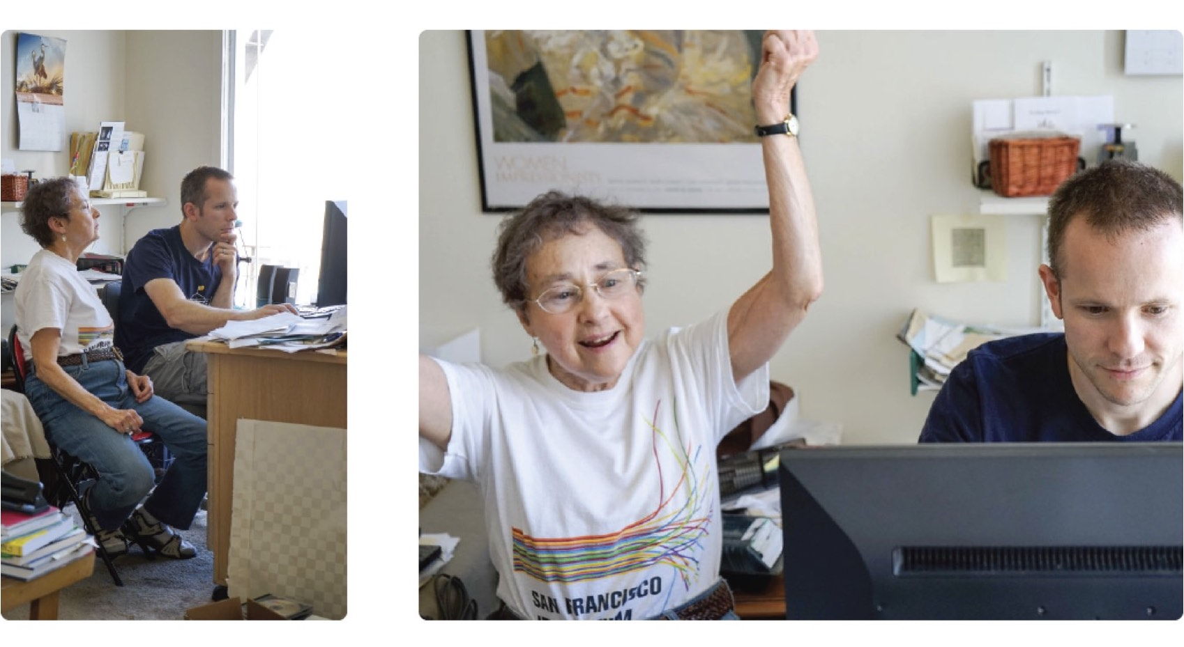Cam Ring, one of Honor's co-founders, helps Linda Lewin set-up her computer and internet connection