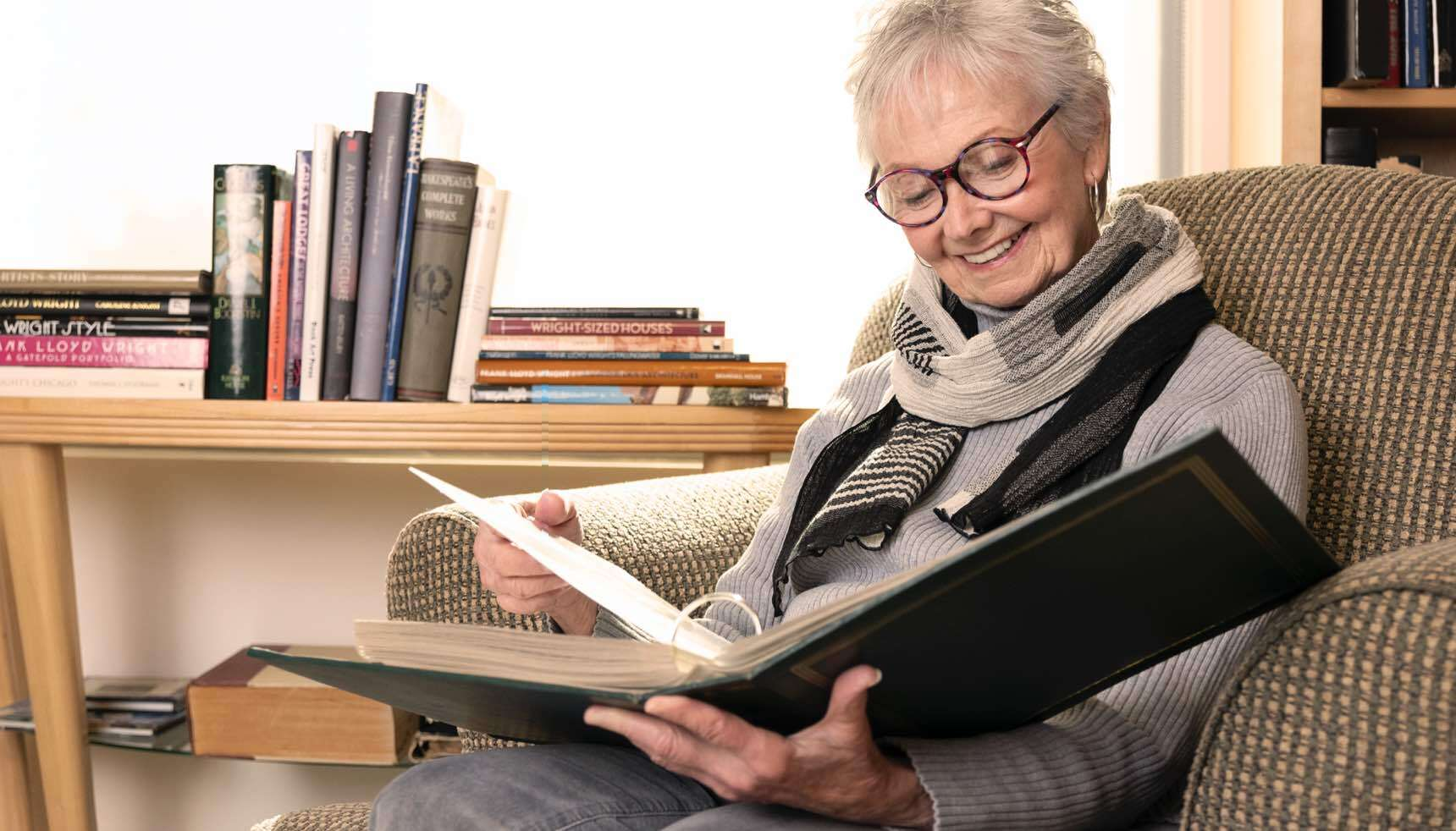 Image of older adult reading.