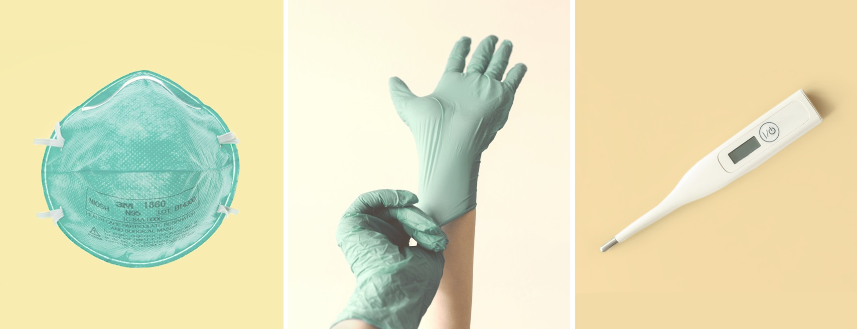 Mask, gloves, and thermometer