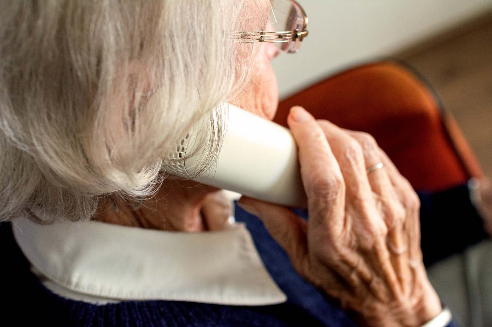 Older adult talking on the phone