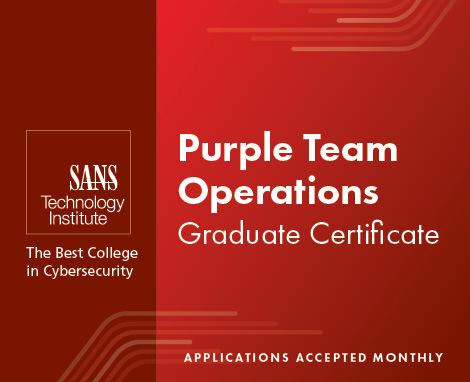 Graduate Certificate Program in Purple Team Operations