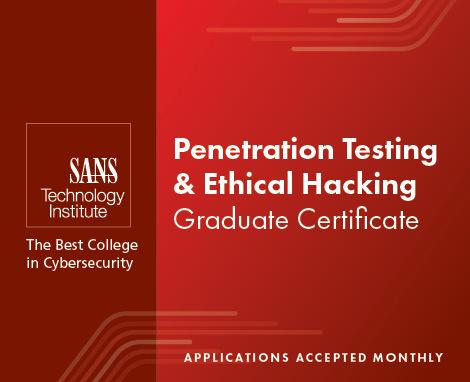 Graduate Certificate Program in Pen Testing & Ethical Hacking