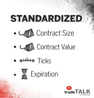 Futures contracts are standardized in regards to size, value, minimum price fluctuation, and expiration date.