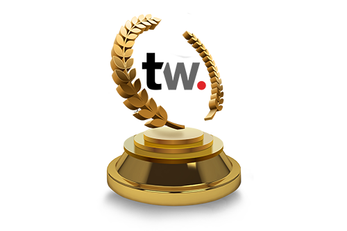 Floating tastyworks logo inside of a gold laurel wreath on a pedestal to signify victory