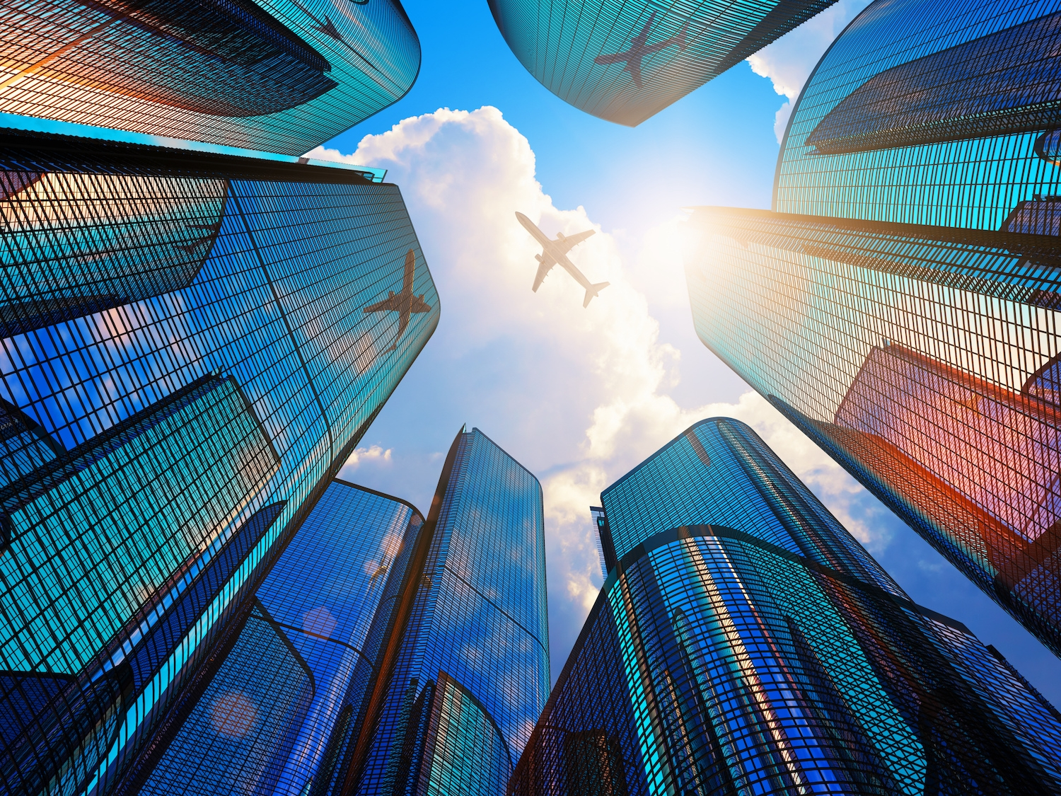 Jet flying above buildings