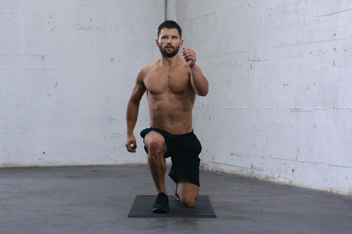 Man doing the split lunges exercise